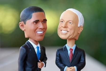Barack Obama en John McCain