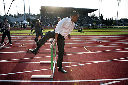 Obama takes hurdle