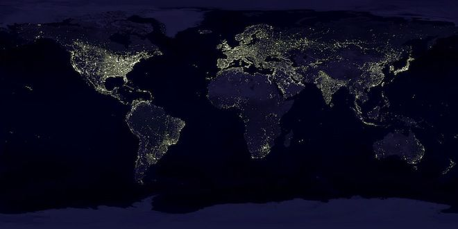 Aarde nacht kaart