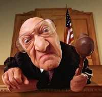 Angry old judge with hammer