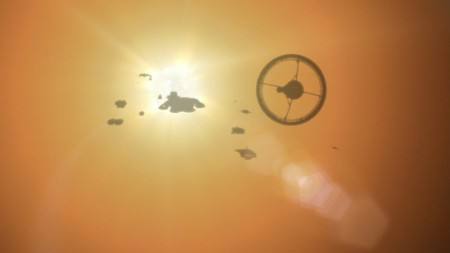 Battlestar Galactica fleet flies into the Sun
