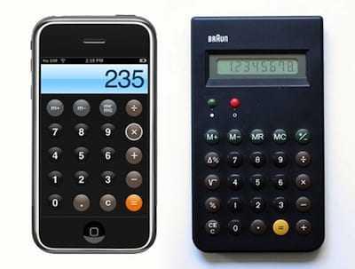Braun ET44 en Apple iPhone rekenmachine