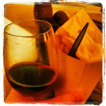 Frieten met wijn