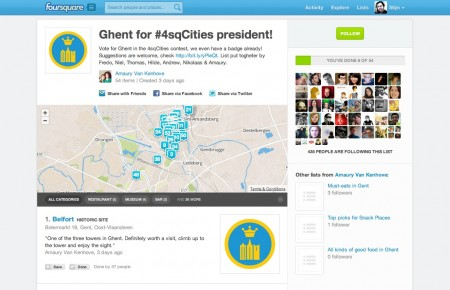 Ghent for Foursquare Cities President!