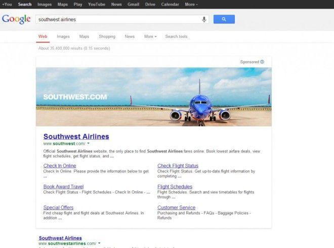 Google SERP met banner ads