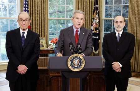 Alan Greenspan, George W. Bush en Ben Bernanke