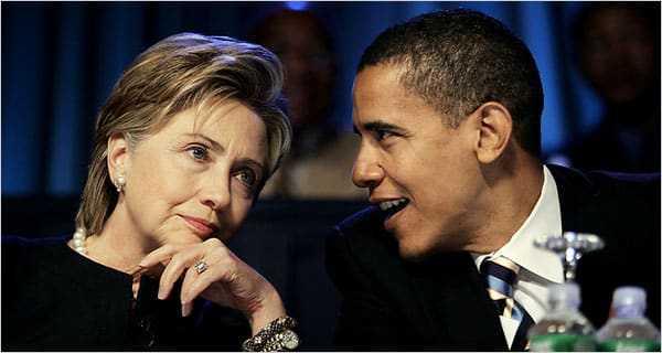 Hillary Clinton en Barack Obama