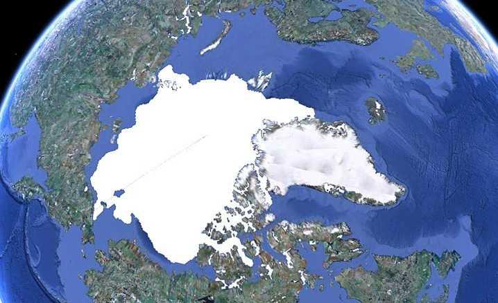 De ijskap op de Noordpool in januari 2000.