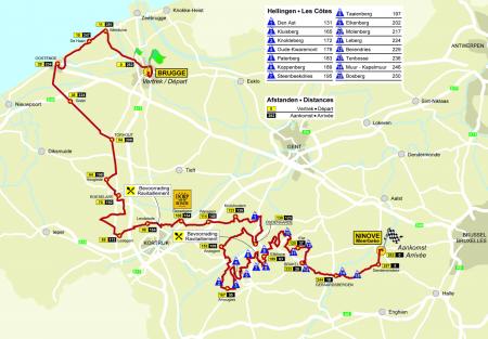 Kaart van de Ronde van Vlaanderen 2010