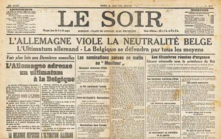 Voorpagina van Le Soir op 4 augustus 1914