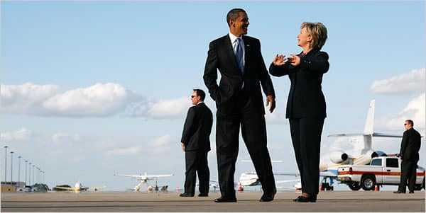 Barack Obama en Hillary Clinton