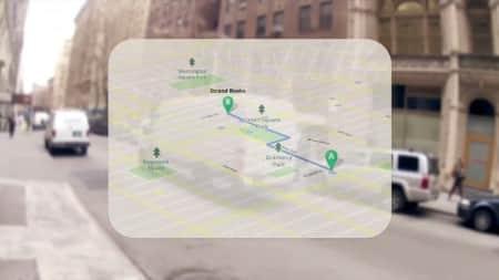 De routeplanner toont hoe je moet lopen