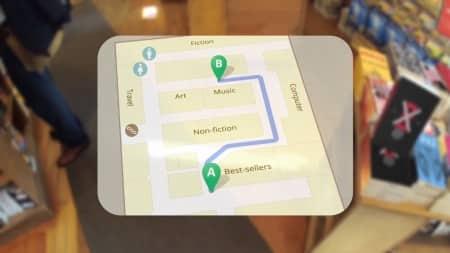 Binnen in een handelszaak krijg je een plattegrond te zien