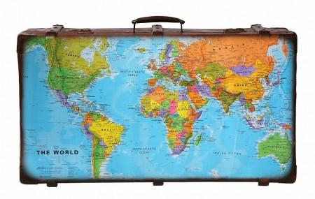 Reiskoffer met wereldkaart