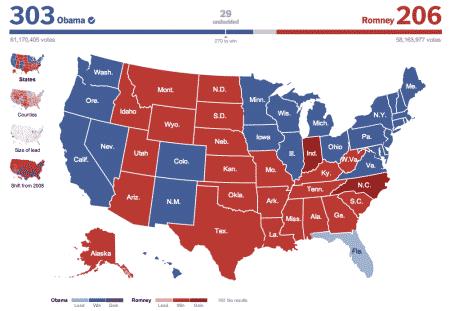 Resultaten van de Amerikaanse presidentsverkiezing in 2012