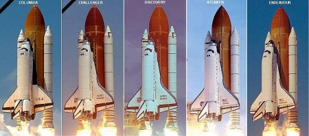 Spaceshuttles bij lancering