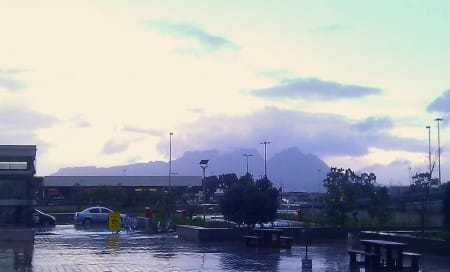Tafelberg gezien vanaf de luchthaven